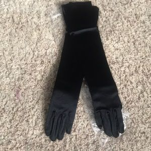 Accessories - Elbow length black satin finish gloves